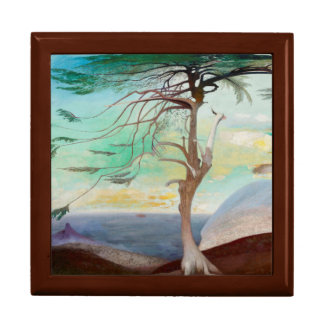 Lonely Cedar Tree Landscape Painting Gift Box