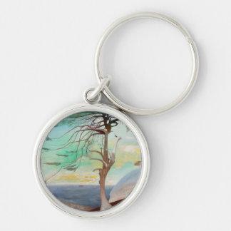 Lonely Cedar Tree Landscape Painting Keychain
