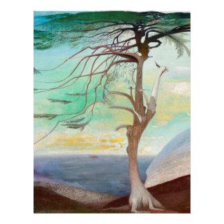 Lonely Cedar Tree Landscape Painting Letterhead