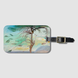 Lonely Cedar Tree Landscape Painting Luggage Tag