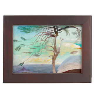 Lonely Cedar Tree Landscape Painting Memory Box