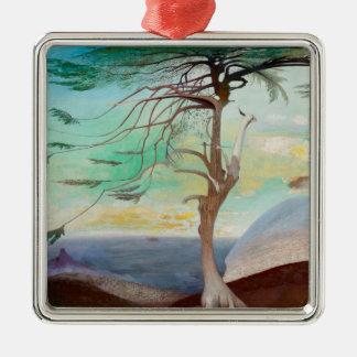 Lonely Cedar Tree Landscape Painting Metal Ornament