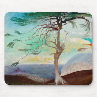Lonely Cedar Tree Landscape Painting Mouse Pad