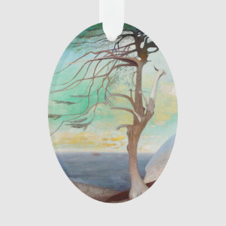 Lonely Cedar Tree Landscape Painting Ornament