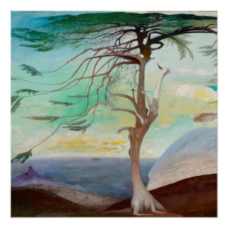 Lonely Cedar Tree Landscape Painting Perfect Poster