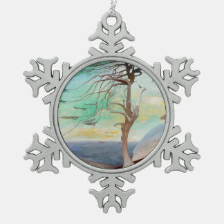 Lonely Cedar Tree Landscape Painting Pewter Snowflake Ornament