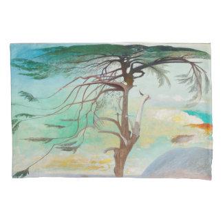Lonely Cedar Tree Landscape Painting Pillowcase