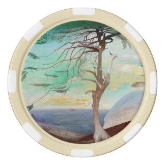 Lonely Cedar Tree Landscape Painting Poker Chip Set