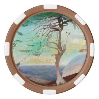 Lonely Cedar Tree Landscape Painting Poker Chip Set