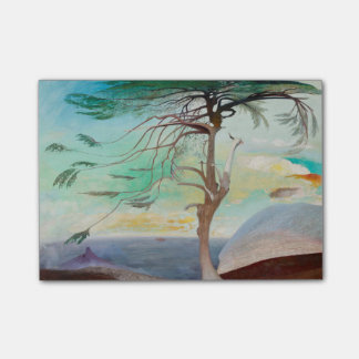 Lonely Cedar Tree Landscape Painting Post-it® Notes