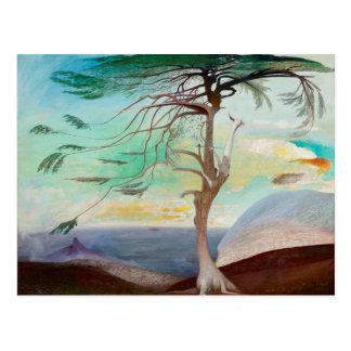 Lonely Cedar Tree Landscape Painting Postcard