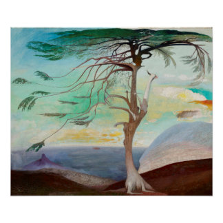 Lonely Cedar Tree Landscape Painting Poster