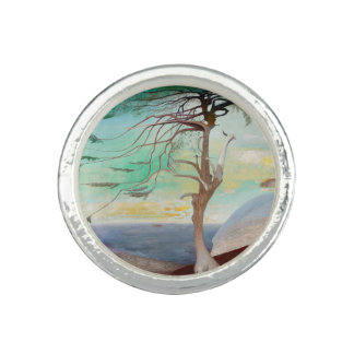 Lonely Cedar Tree Landscape Painting Ring