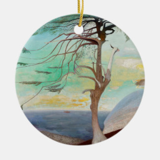 Lonely Cedar Tree Landscape Painting Round Ceramic Ornament