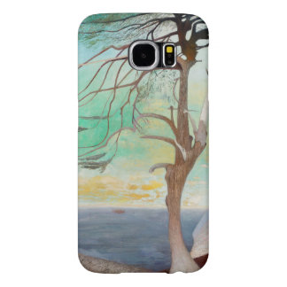 Lonely Cedar Tree Landscape Painting Samsung Galaxy S6 Cases