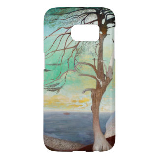 Lonely Cedar Tree Landscape Painting Samsung Galaxy S7 Case
