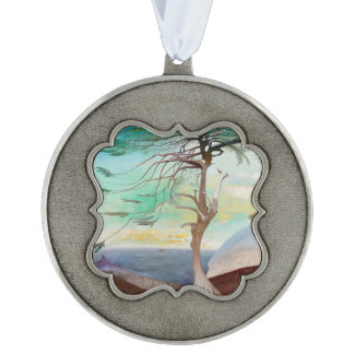Lonely Cedar Tree Landscape Painting Scalloped Pewter Ornament