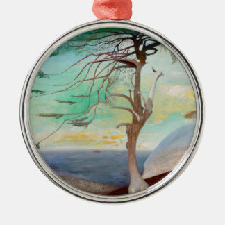 Lonely Cedar Tree Landscape Painting Silver-Colored Round Ornament