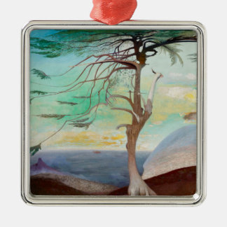 Lonely Cedar Tree Landscape Painting Silver-Colored Square Ornament