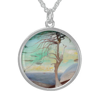 Lonely Cedar Tree Landscape Painting Sterling Silver Necklace