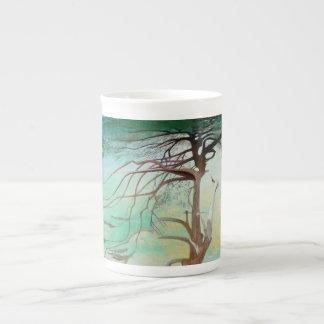 Lonely Cedar Tree Landscape Painting Tea Cup