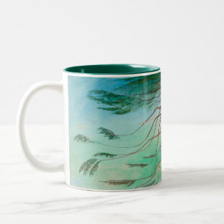Lonely Cedar Tree Landscape Painting Two-Tone Coffee Mug