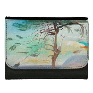 Lonely Cedar Tree Landscape Painting Wallet For Women