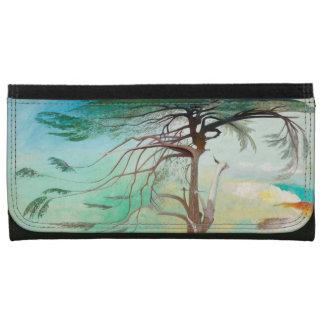 Lonely Cedar Tree Landscape Painting Wallets