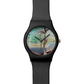 Lonely Cedar Tree Landscape Painting Watch