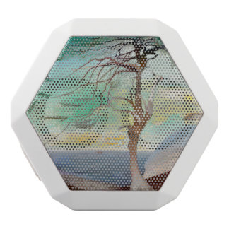Lonely Cedar Tree Landscape Painting White Bluetooth Speaker