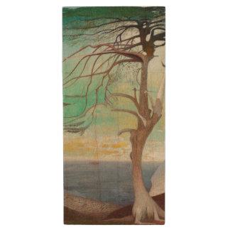 Lonely Cedar Tree Landscape Painting Wood USB Flash Drive