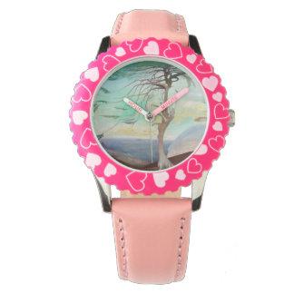 Lonely Cedar Tree Landscape Painting Wrist Watch