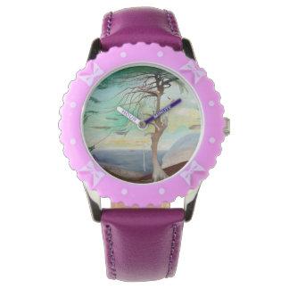 Lonely Cedar Tree Landscape Painting Wristwatch