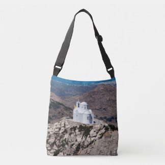 Lonely church in Greek mountains Crossbody Bag