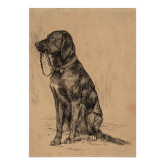 Lonely Dog holding his own leash, Vintage Pen Ink Poster