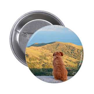 Lonely dog watching on Gibraltar strait 2 Inch Round Button