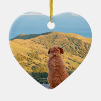 Lonely dog watching on Gibraltar strait Ceramic Heart Ornament