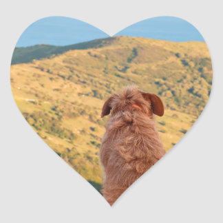 Lonely dog watching on Gibraltar strait Heart Sticker