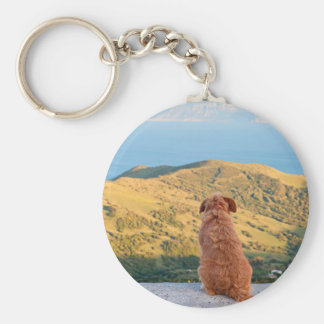 Lonely dog watching on Gibraltar strait Keychain