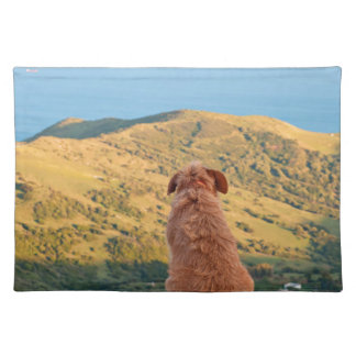 Lonely dog watching on Gibraltar strait Placemat