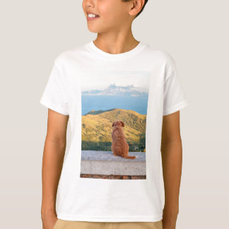 Lonely dog watching on Gibraltar strait T-Shirt