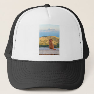 Lonely dog watching on Gibraltar strait Trucker Hat