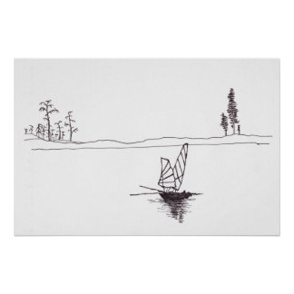 Lonely fish boat poster