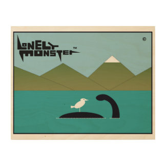 Lonely Monster and Bird Wood Wall Decor