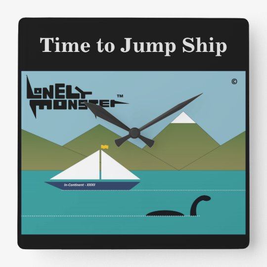 Lonely Monster and Yacht Square Wall Clock