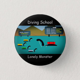 """Lonely Monster Cartoon Badge (1.25"""") 1 Inch Round Button"""