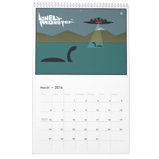 Lonely Monster Cartoon Calendar (Single Page)