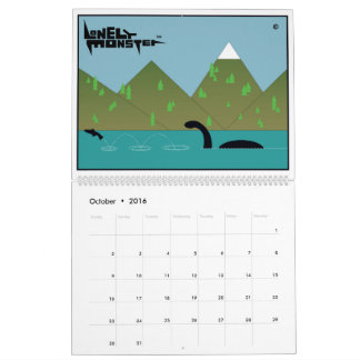 Lonely Monster Cartoon Calendar (Two Page)