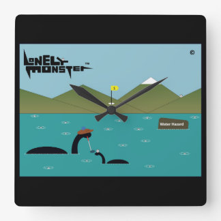 Lonely Monster Terrible Golfer Square Wall Clock