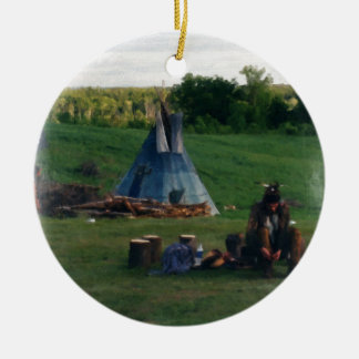 Lonely Native American Indian Ceramic Ornament